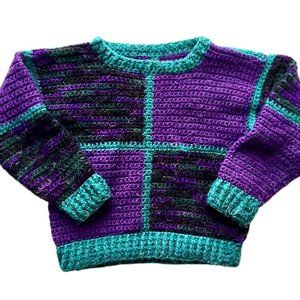 Hand Knit Chunky 80's Print Sweater